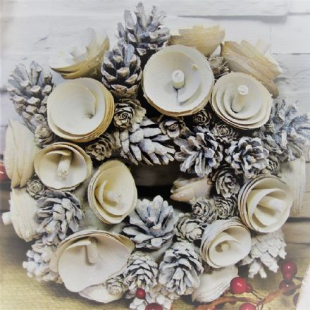 White Pinecone Round Wreath